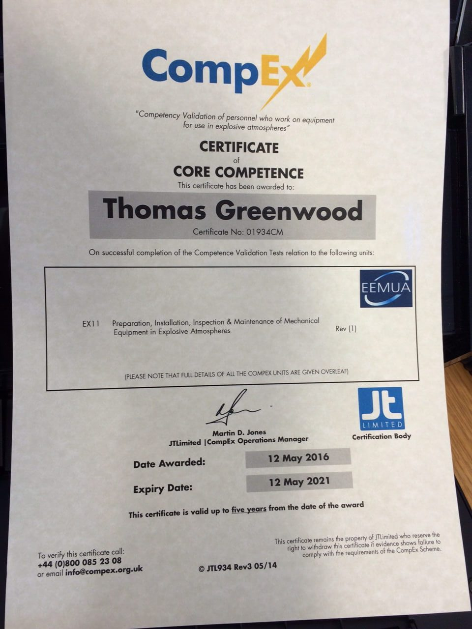 PMP Certificate of Competence - CompEx Thomas Greenwood