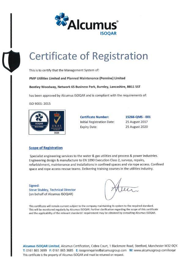 Alcumus ISOQAR certificate of registration