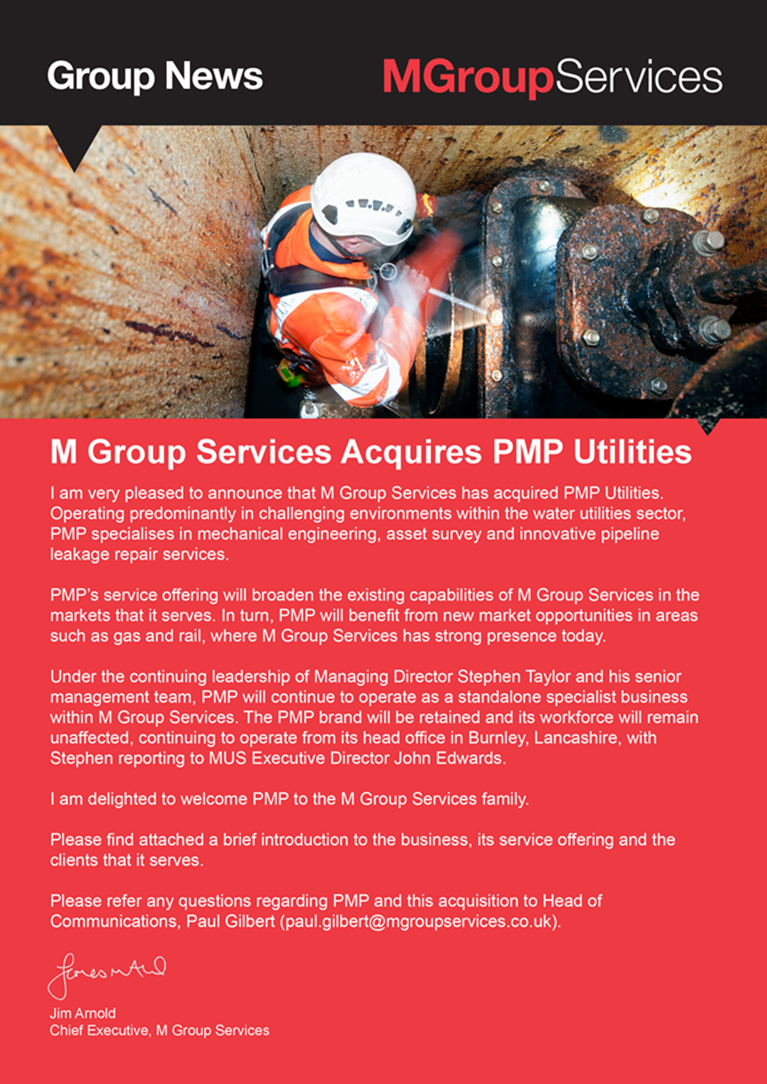 MGroup services acquires PMP Utilities graphic