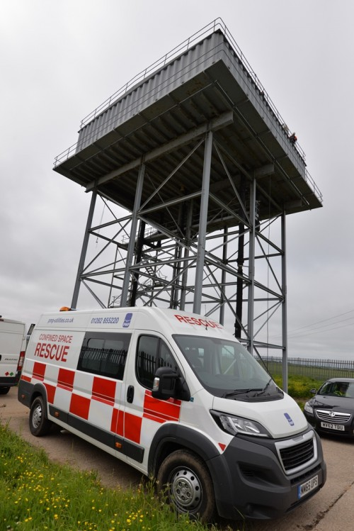 PMP Utilities confined space rescue van at a tower