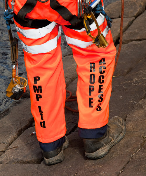 PMP Utilities rope access team member with health and safety equipment